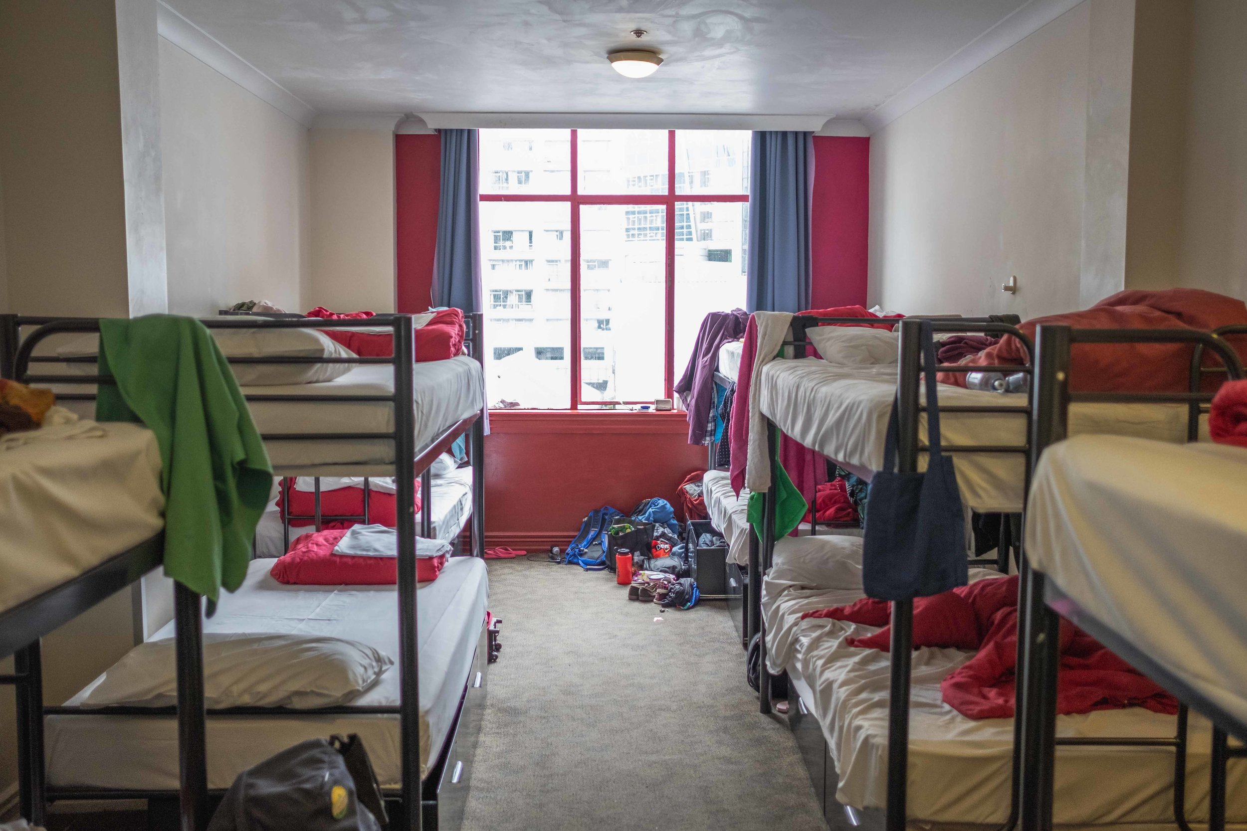 most of our hostel room! There were 12 beds and 2 outlets. . .it was a battle.