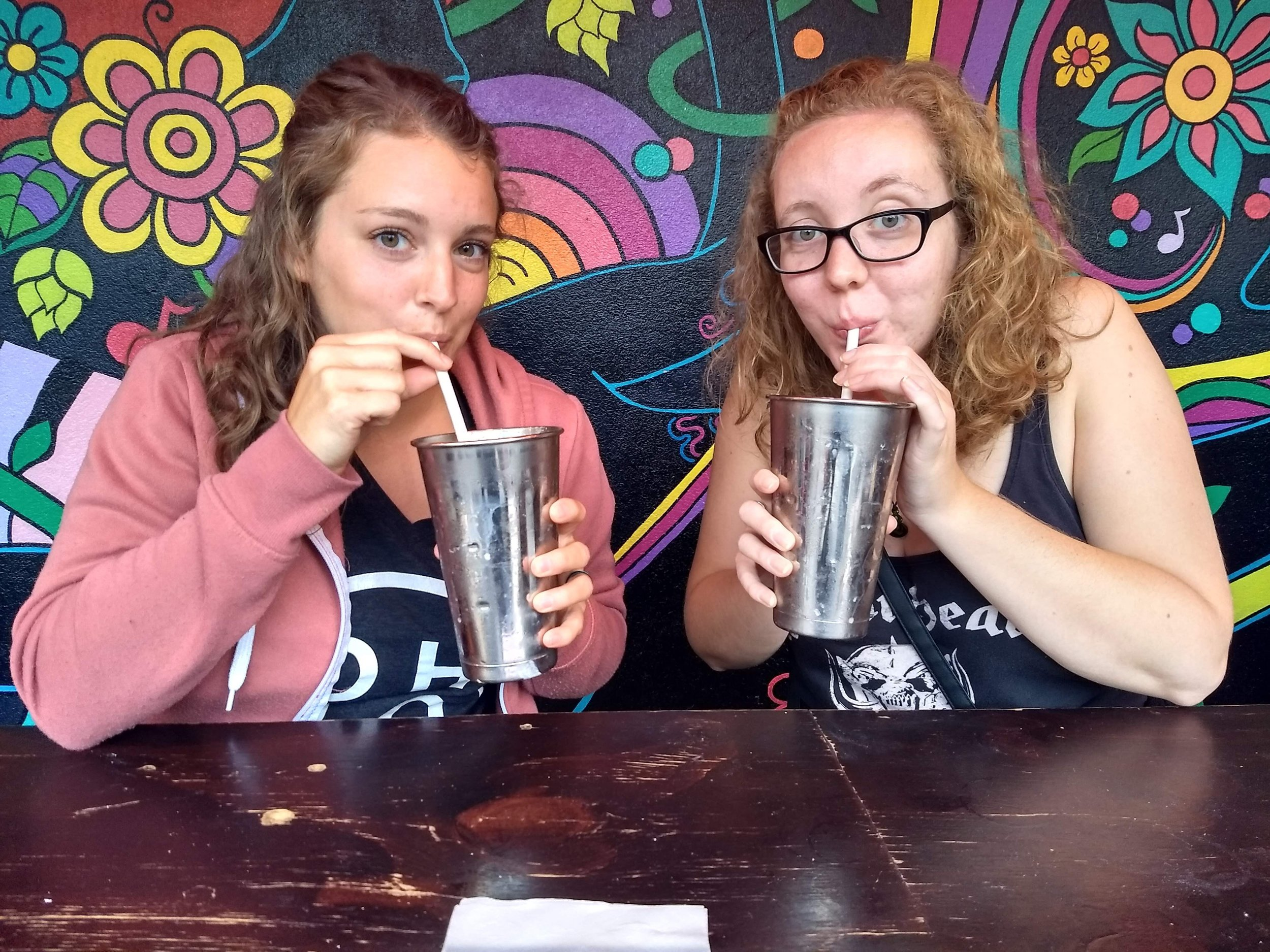Yummy milkshakes with our friend Sam!!