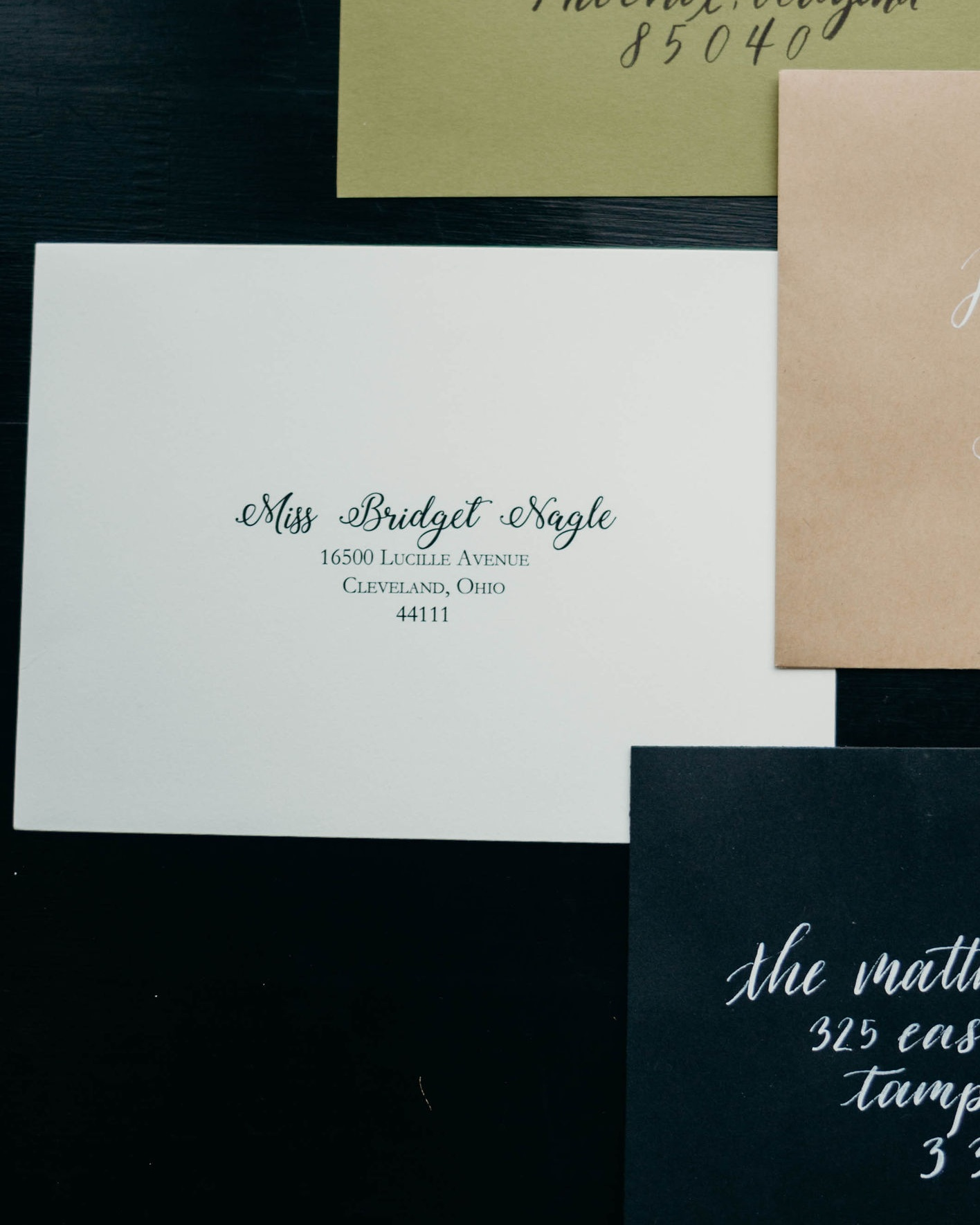 Tier Three: Digital Printing - Our tier three envelopes can help in any time crunch. We will work together to select a style or combination of fonts that fit your vision and perfectly print each address for you! This service also includes your return address digitally printed on the back of your envelope.Invitation Envelope: 1.25 ppRSVP Envelope: .75 pp