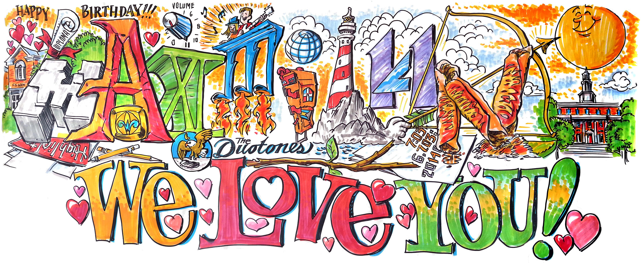 Graphic Recording - Private Event: Commemorating a birthday - 4' x 9.75'