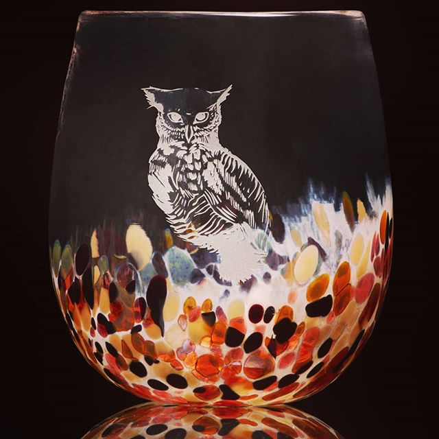 Hoo likes these owl cups? It would be a wise choice. . . . #owls #glassblowing #providence  #wisdom #gatherglass #totem #nature #newengland