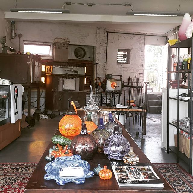 More of our students work ready to be bagged and tagged. By far the most popular classes have been the pumpkins. Come in and try one yourself.  #pumpkinspice #rhodeislandisland  #craft #art #classes #gatherglass #fall