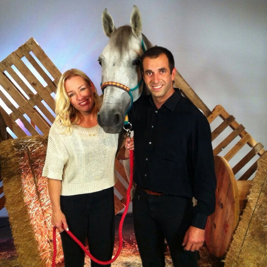 Odette & Pedro with Taquito on set of TV.jpg