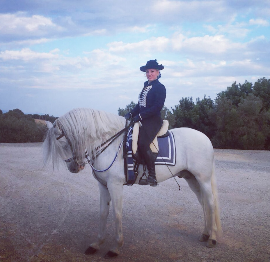 Odette riding horse in an equestrian show in Andalusia Spain