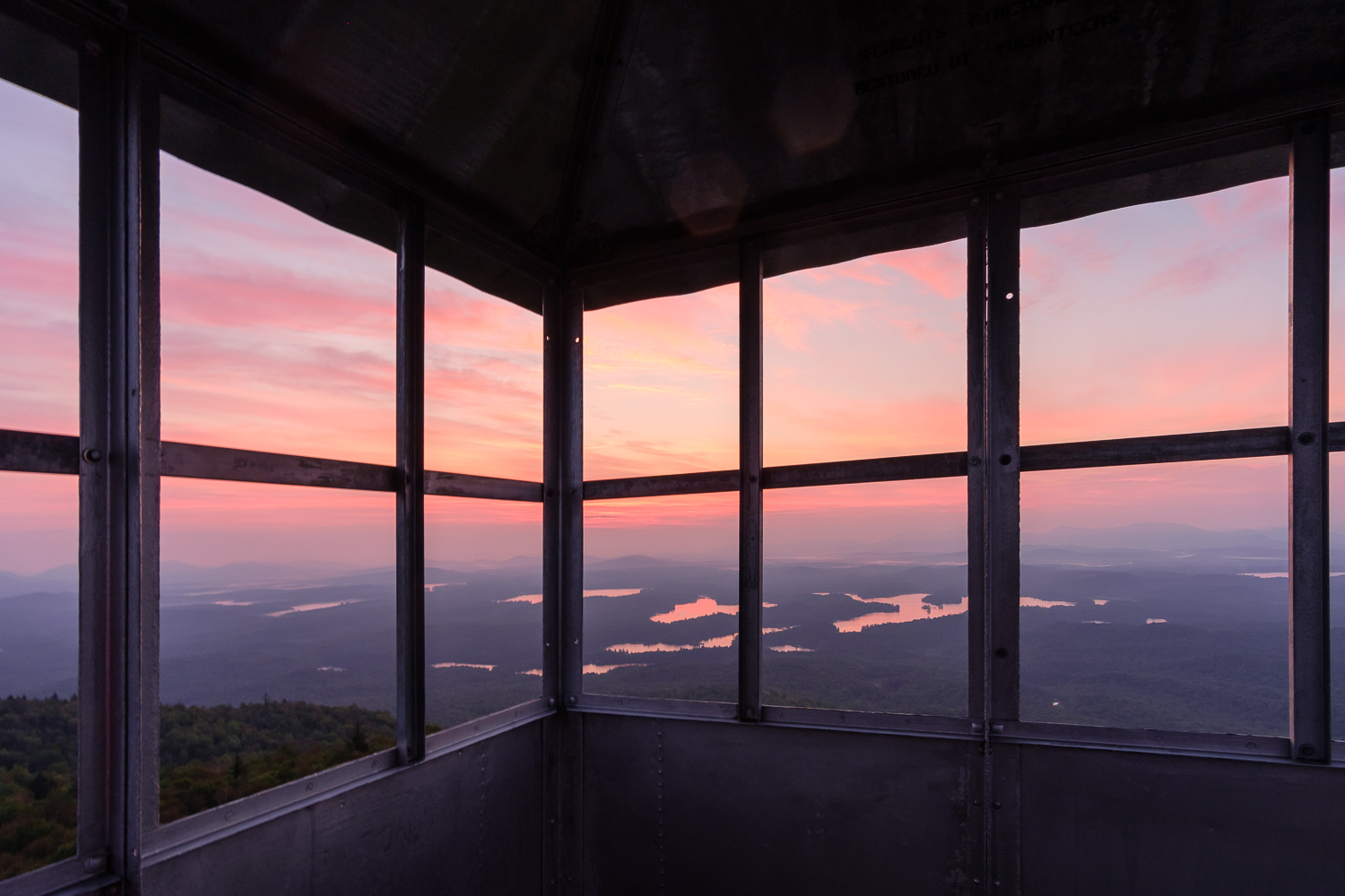 Sunrise on Saint Regis and Spitfire Lakes from the Saint Regis Mountain Lookout, Adirondack Park, NY.