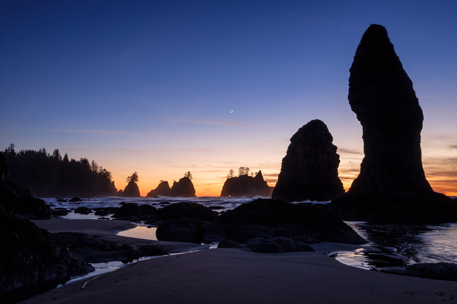 A crecent moon rises over seastacks at Point of the Arches, Olympic National Park, WA.