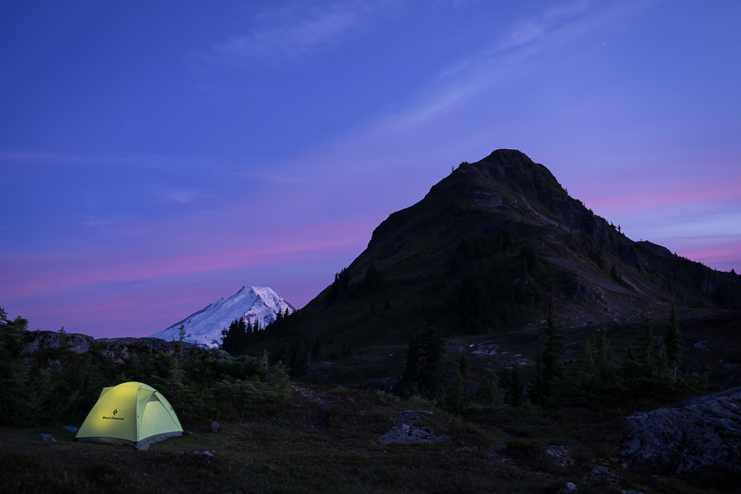 Sunset over camp below Yellow Aster Butte, with Baker peaking out from behind Pt. 5933
