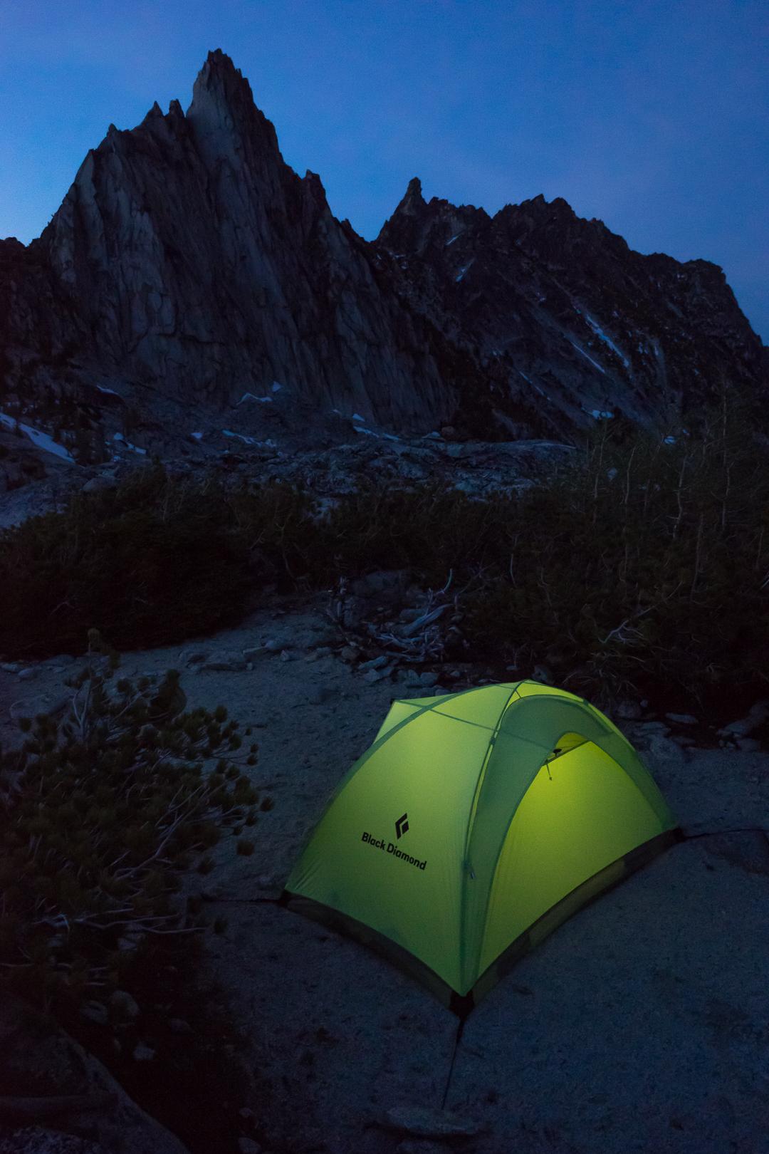 Dusk at camp below Prussik Peak.