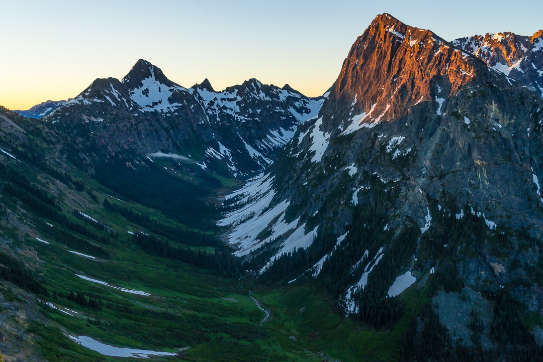 First light on the upper Fisher Creek valley, with Easy Pass and Graybeard Peak at left.