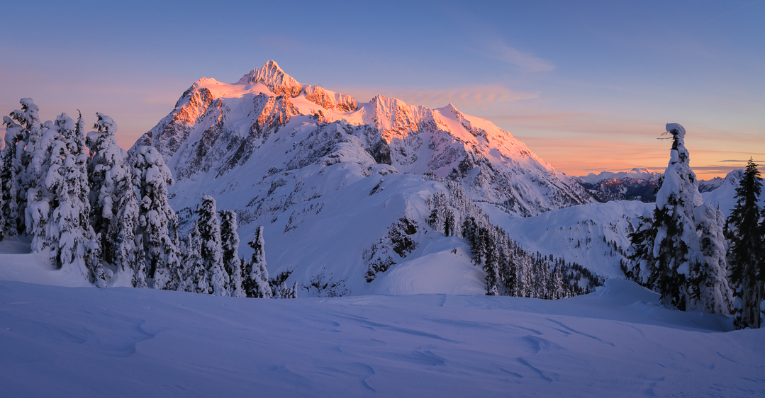 Alpenglow on Shuksan. Bacon is visible to the right of Shuksan.