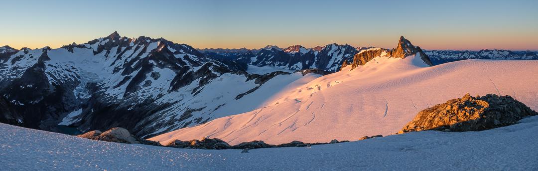 Sunrise on the Inspiration Glacier – Goode, Forbidden, Boston, Torment, Sahale, Bonanza, Spider, Joberg, and Pt. 7733.