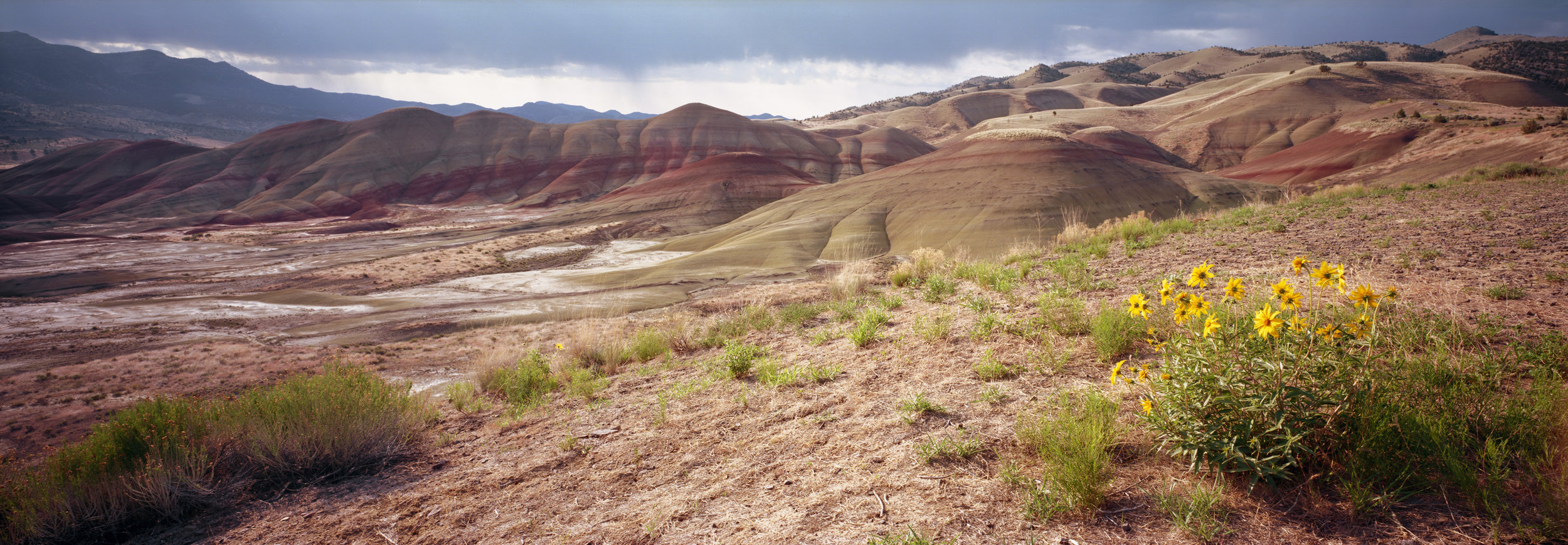 Painted Hills of Oregon at sunrise. Velvia 50, 1/4 sec, f/32.