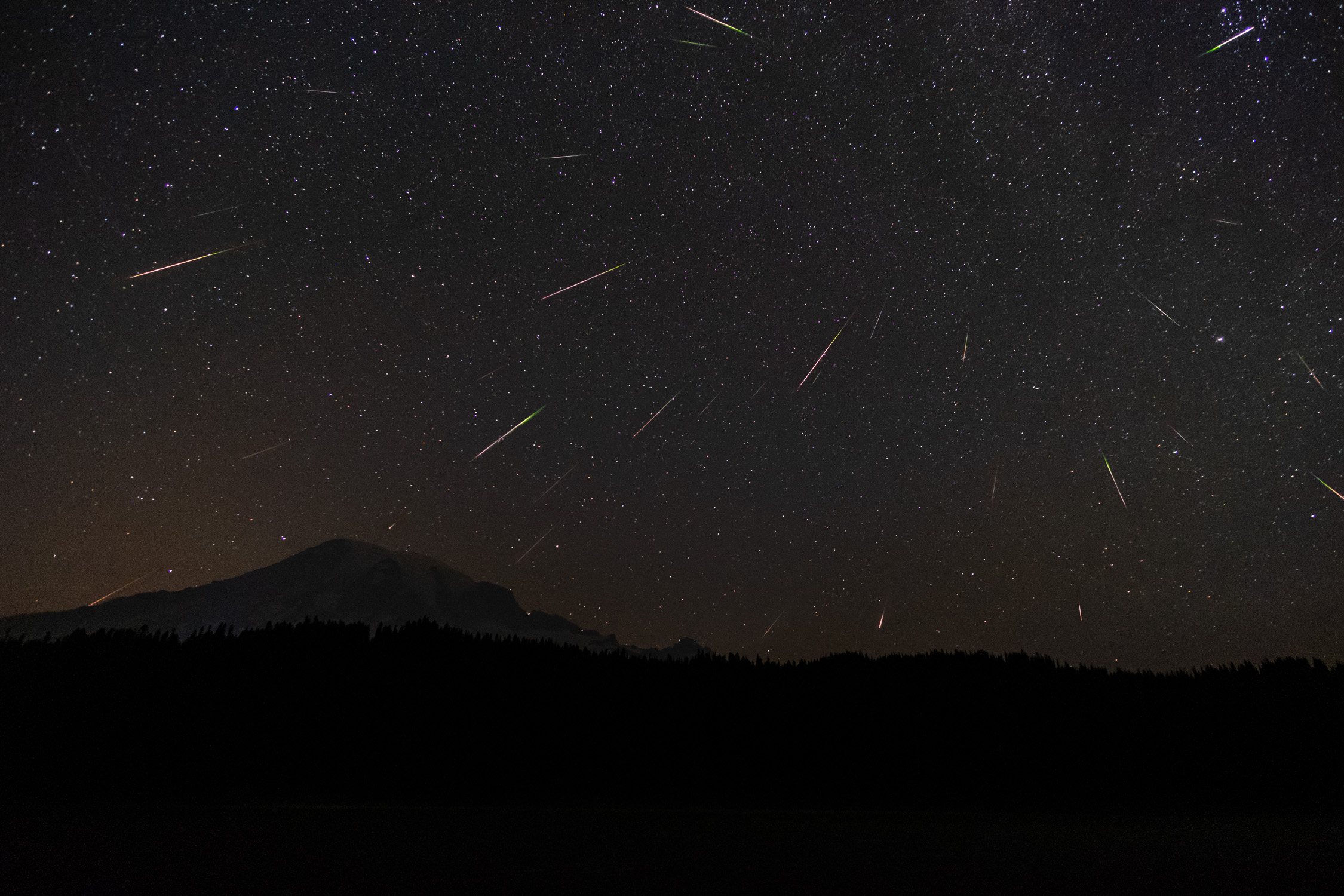 The 2018 Perseid Meteor Shower over Mount Rainier, from Reflection Lake