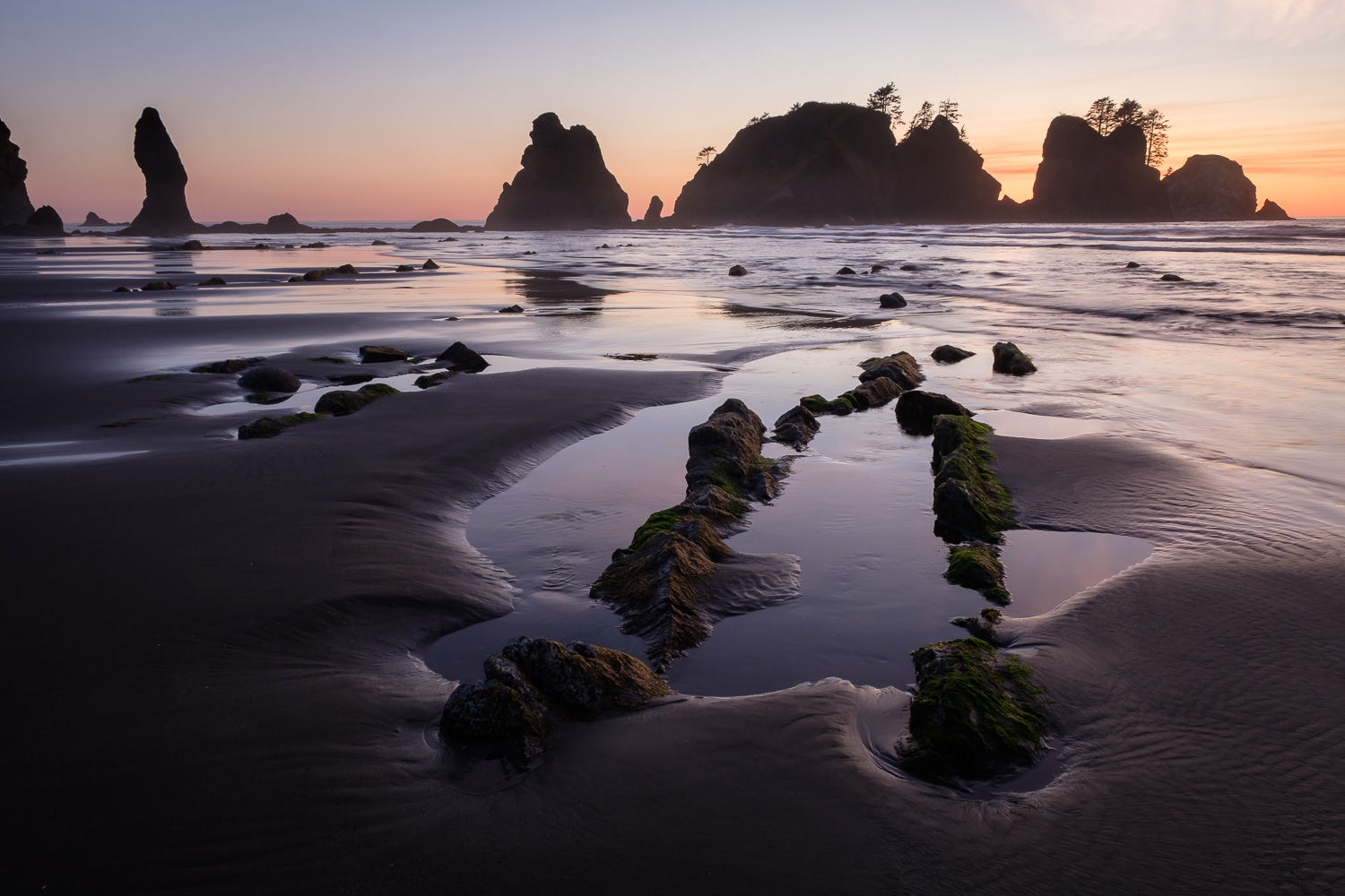 Sunset on Shi Shi Beach, Olympic National Park.