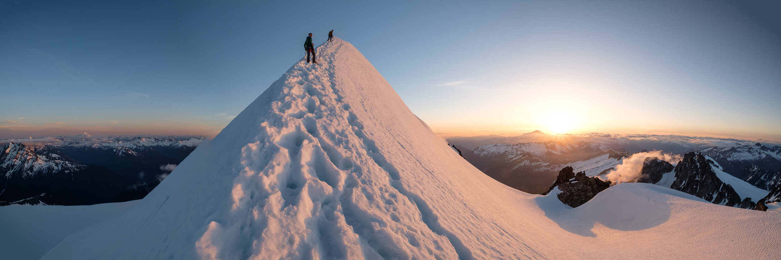 Cameron and Addison on the summit ridge of Eldrado.