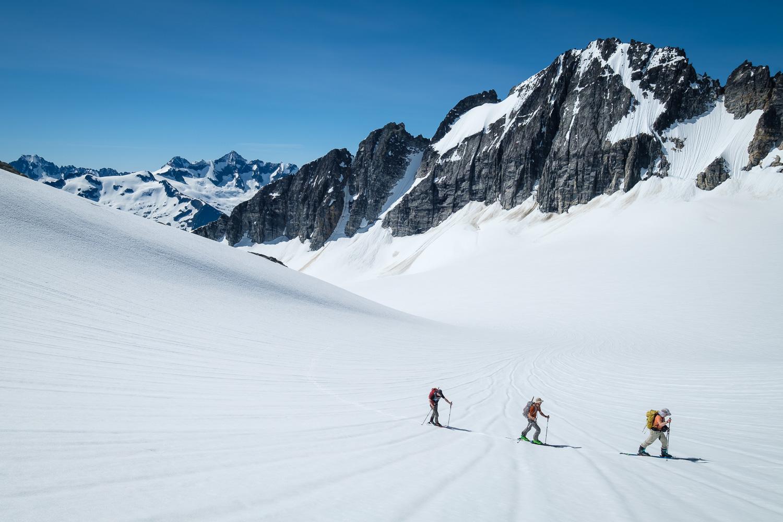 Ascending the North Klawatti Glacier beneath Austera's summit.