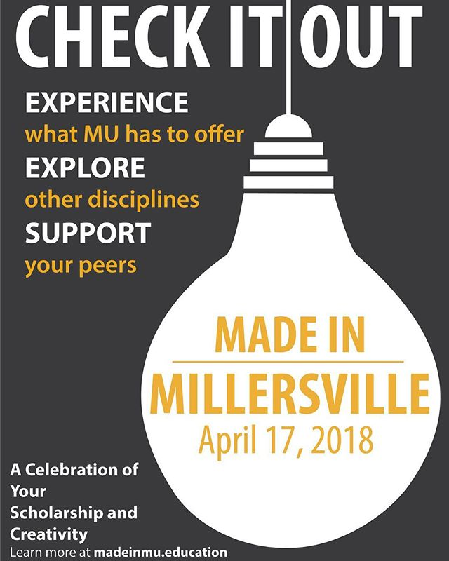 💡💡💡 MADE IN MILLERSVILLE IS 10 DAYS AWAY 💡💡💡 Make sure you stop by the library on April 17 to experience, explore and support. #madeinMU18