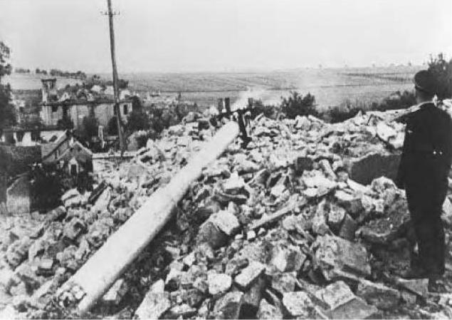 Ruins of Lidice after the Germans destroyed the village.JPG