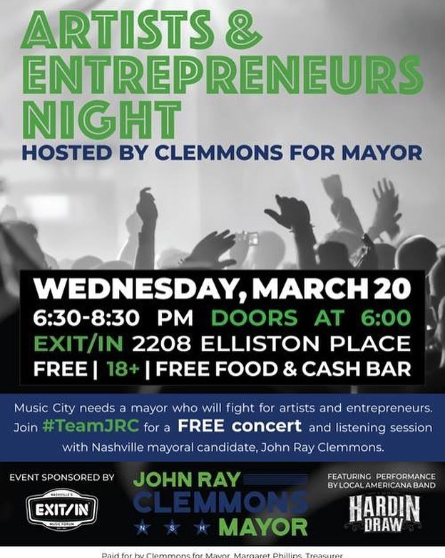 We are honored to be performing this event next Wednesday night, March 20, 2019 @exit_in for @clemmonsformayor We would love to see you there! Admission is **FREE**. Event starts at 6:30pm! #nashville #exitin #freeshow #free #livemusic #supportlocal #getinvolved #johnrayclemmons