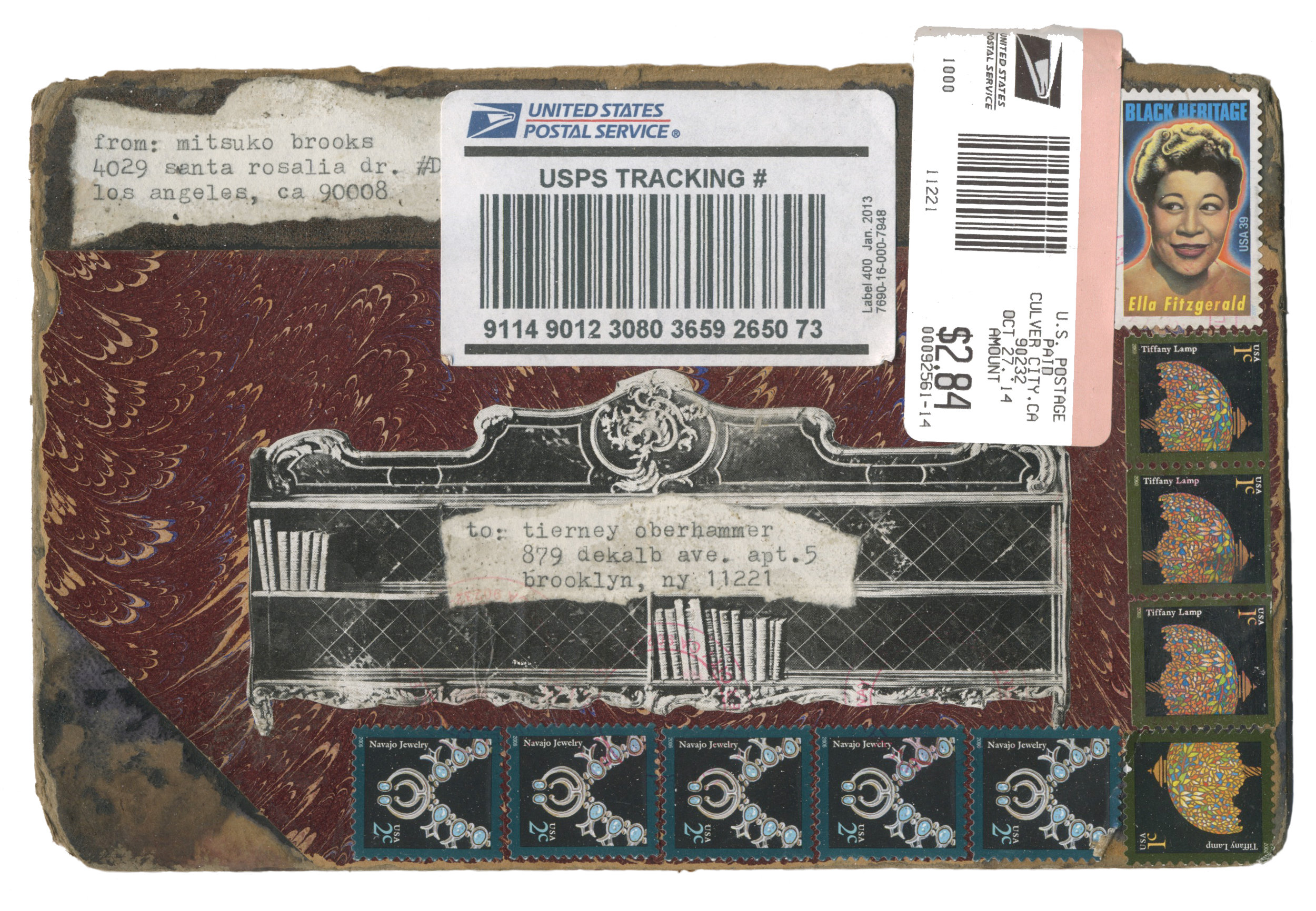 """Mail art to T.O. postmarked Oct. 27, 2014"" [exterior]  4"" x 6""  Discarded book cover, stamps, newsprint, typewriter ink."