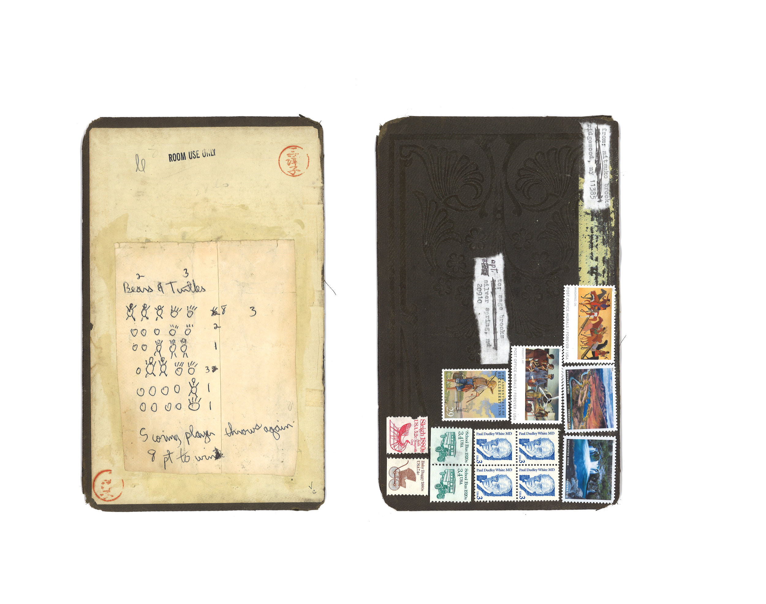 """Mail art to Sage Brooks postmarked Aug. 22, 2019"" [combined back and front]  5"" x 7""  Discarded book cover, stamps, rice paper, typewriter ink, scoring notes by father."