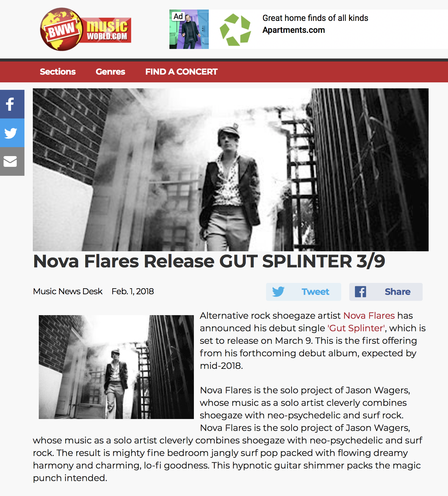 "Broadway World : ""Gut Splinter"" Release"