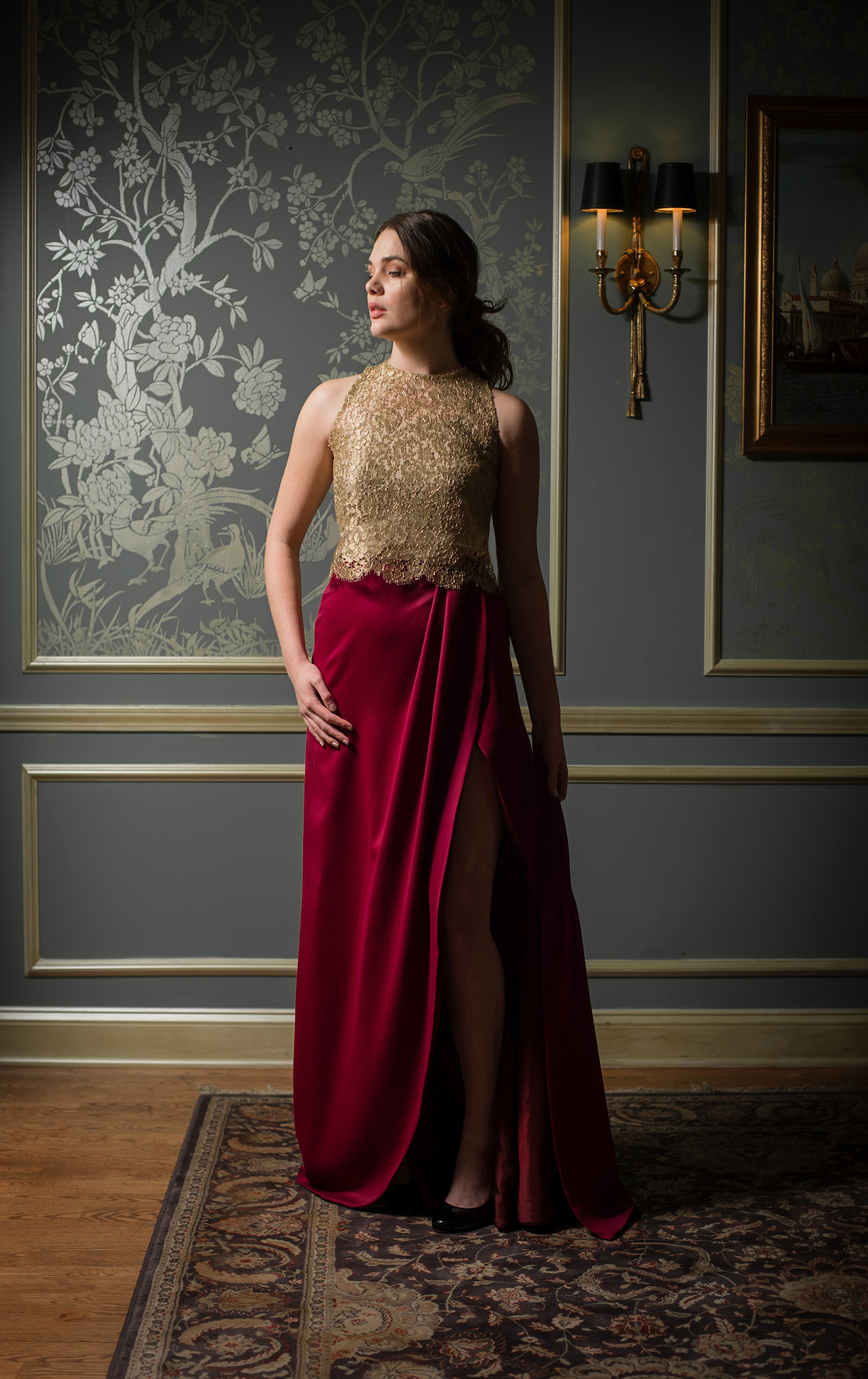 Gold lace top with red skirt.jpg