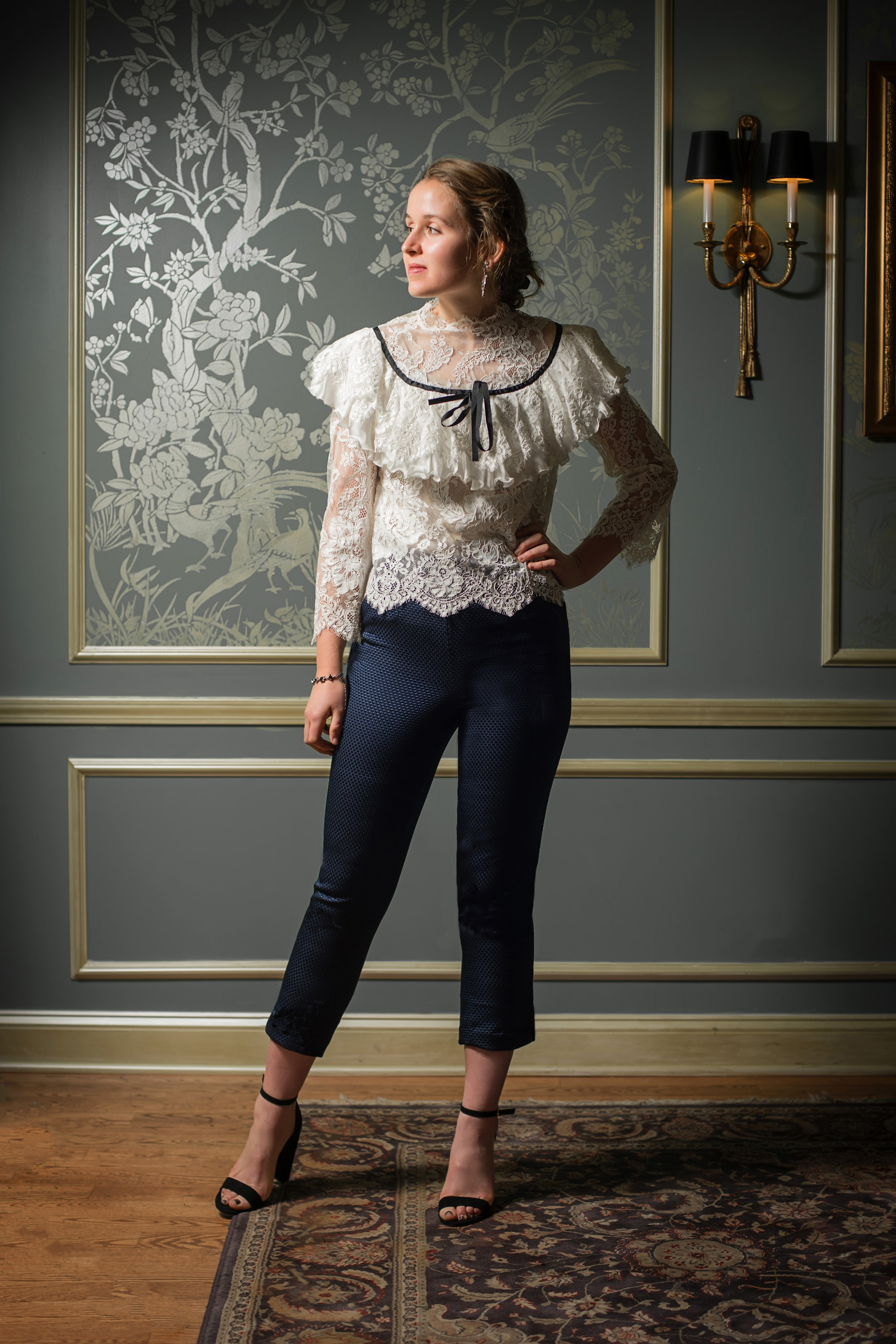 Lace top with pique cropped pants.jpg