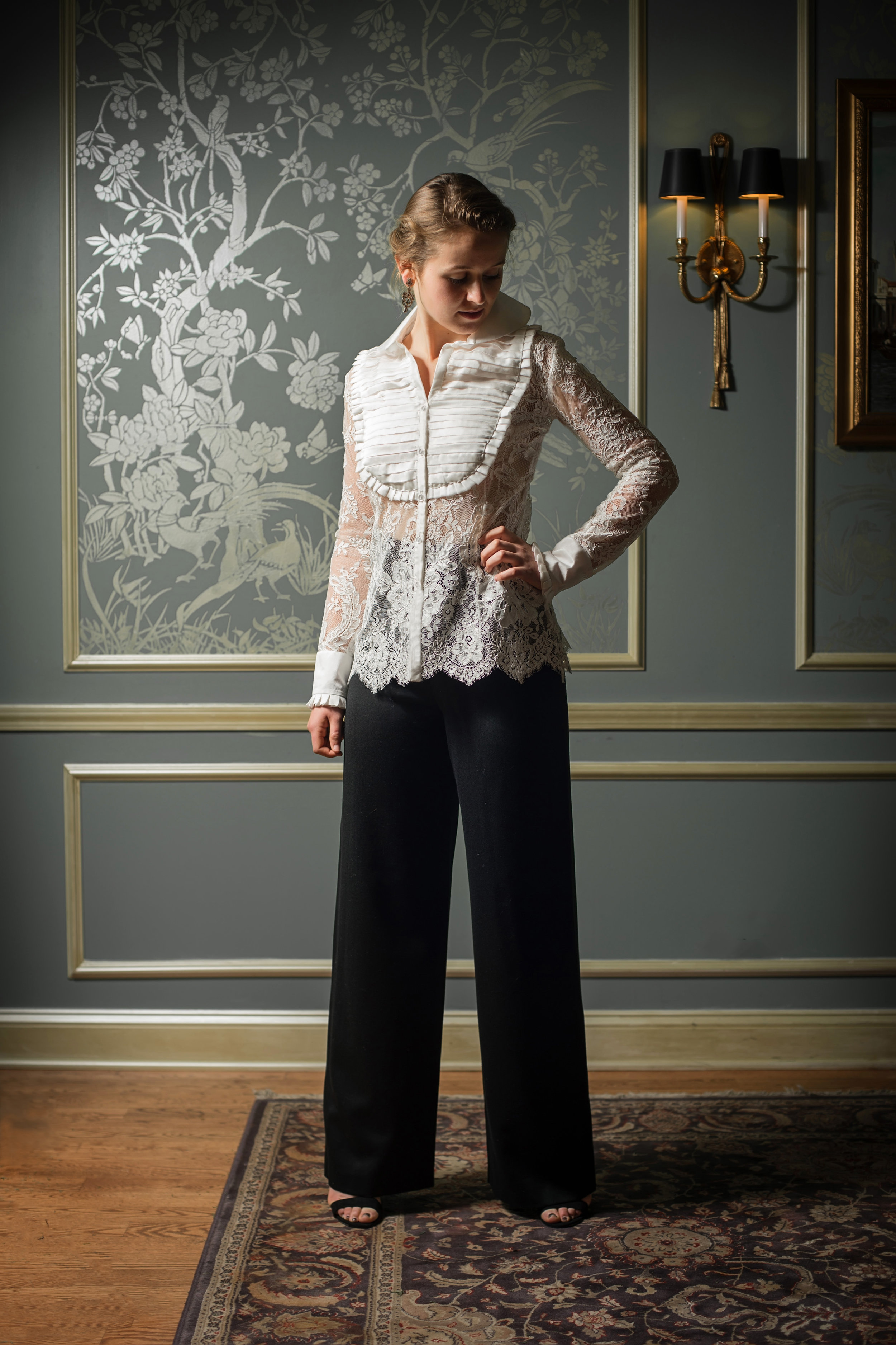 Lace tuxedo front top with pants.jpg