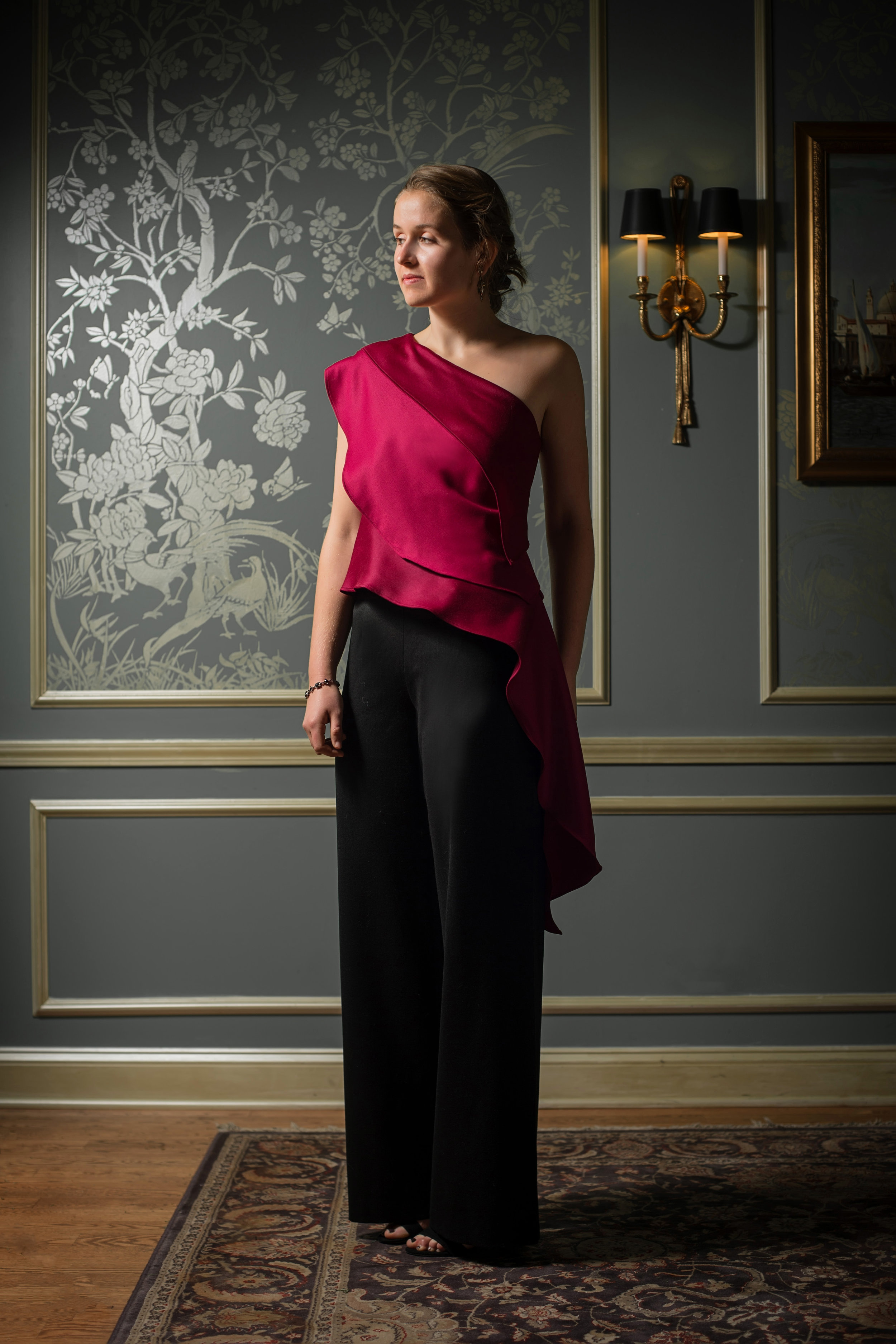 Red Gabardine top with pants.jpg