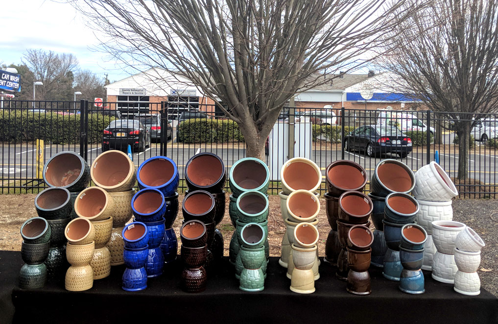 Colorful ceramic pottery at the Reston Farm Market, VA