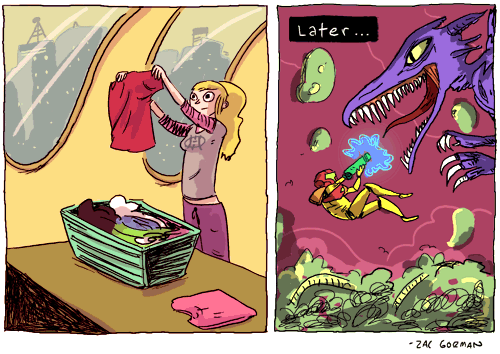 A day in the life of Samus by Zac Gorman in his webcomic  Magical Game Time.