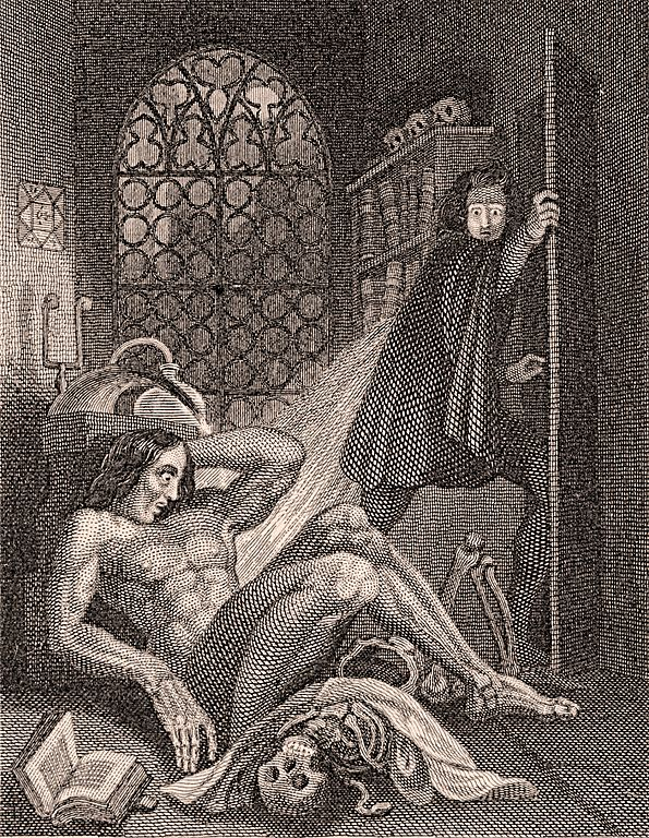 Front piece to the 1831 edition of Mary Shelley's  Frankenstein  depicting Frankenstein and the Creature.