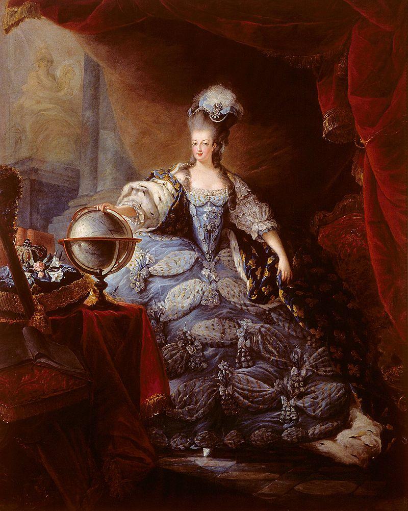 Marie Antoinette, en grand habit de cour  (by Jean-Baptiste-André Gautier-Dagoty, 1775)