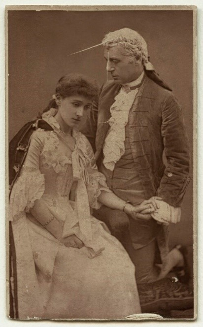 Barraud, Herbert Rose. Mary Moore (Lady Wyndham) as Ada Ingot; Sir Charles Wyndham as David Garrick in 'David Garrick.' 1888. Via National PortraitGallery.org.uk.  Although this photo is from the play 'David Garrick,' Mary Moore and Charles Wyndham play Lady Susan and Sir Richard Kato respectfully in the Oct. 3rd 1894 production of The Case of Rebellious Susan.