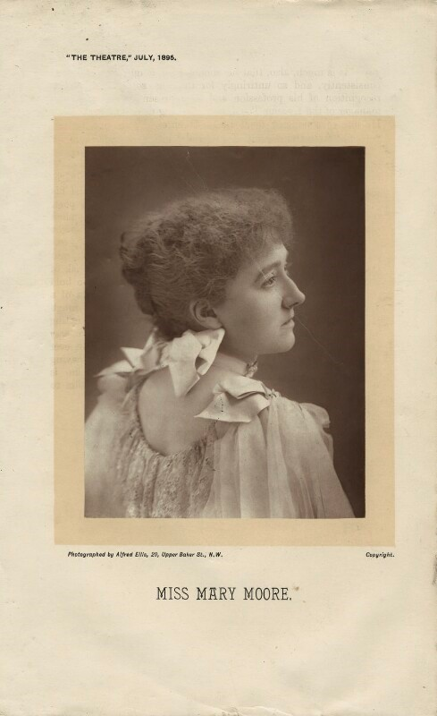 """Ellis, Alfred. Mary Moore. The Theatre, 1 July, 1895. Original image 4 3/4"""" x 3 5/8"""". Acquired 1946. Via NationalPortraitGallery.org.uk."""
