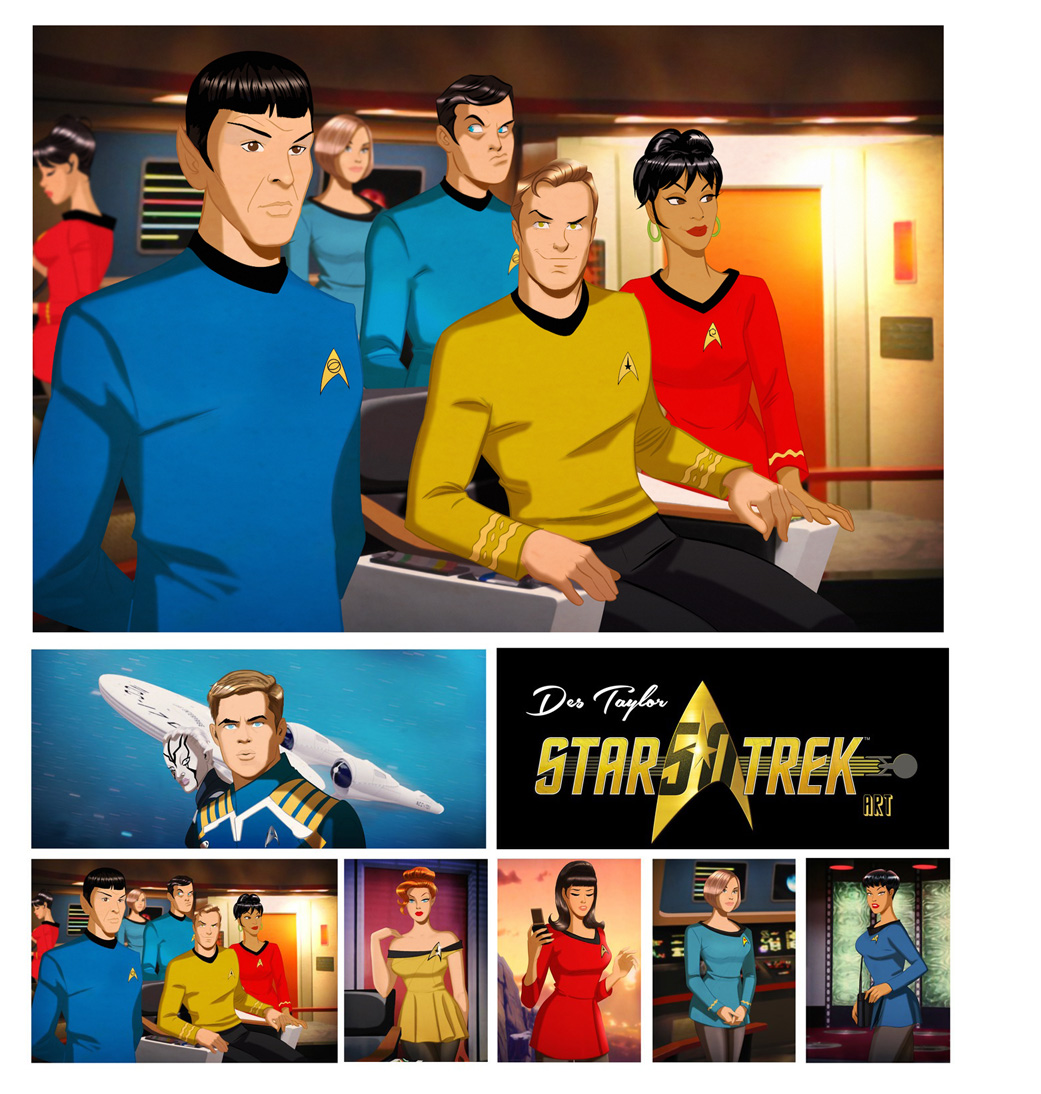 STAR TREK 50 YEARS, 50 ARTISTS WORLDWIDE TOURING EXHIBITION     HAND PICKED BY CBS AS ONE OF 50 WORLDWIDE ACCLAIMED ARTISTS, DES TAYLOR CREATED ARTWORK FOR THE EXHIBITION AND IS FEATURED IN THE COFFEE TABLE BOOK.