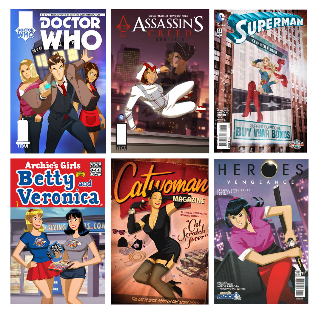 COMIC BOOK COVER ART     OVER THE YEARS, DES HAS BEEN COMMISSIONED BY COMIC PUBLISHERS TO USE HIS UNIQUE RETRO-ANIMATED STYLE TO SOME OF THE WORLD'S MOST FAMOUS CHARACTERS.