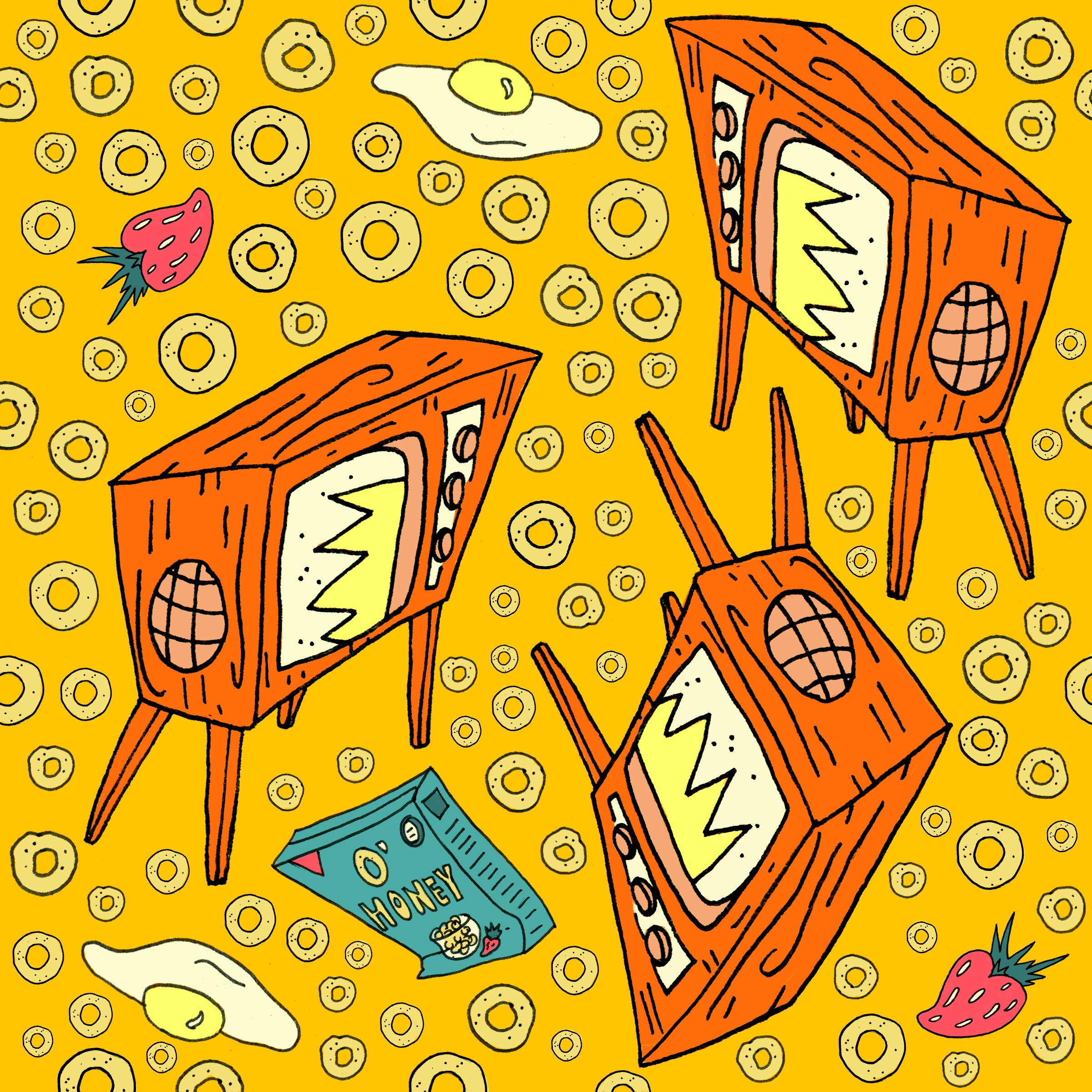 Saturday Morning Cartoons   Repeating Pattern (ink and digital coloring)