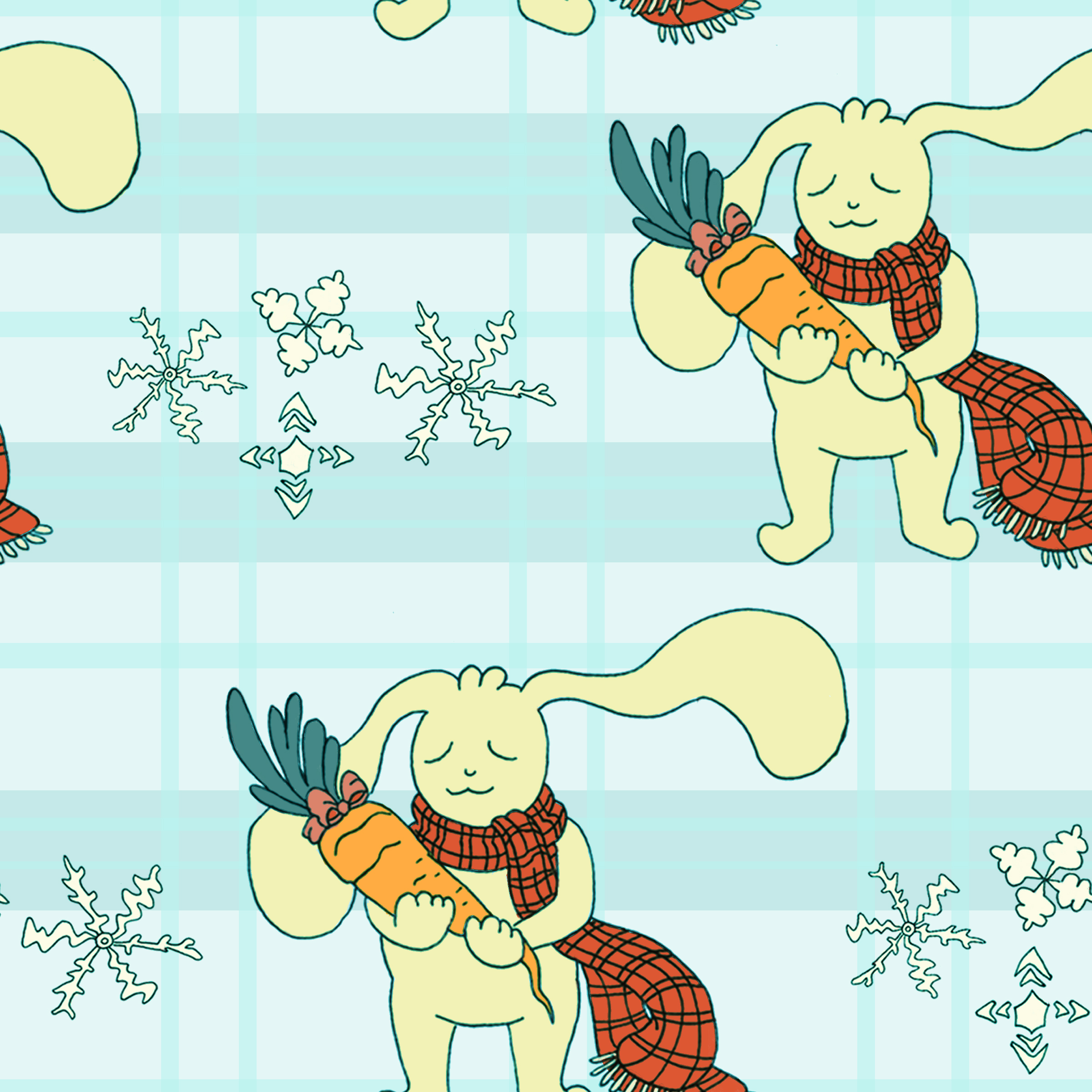 The Rabbit and the Carrot   Repeating Pattern (ink and digital coloring)