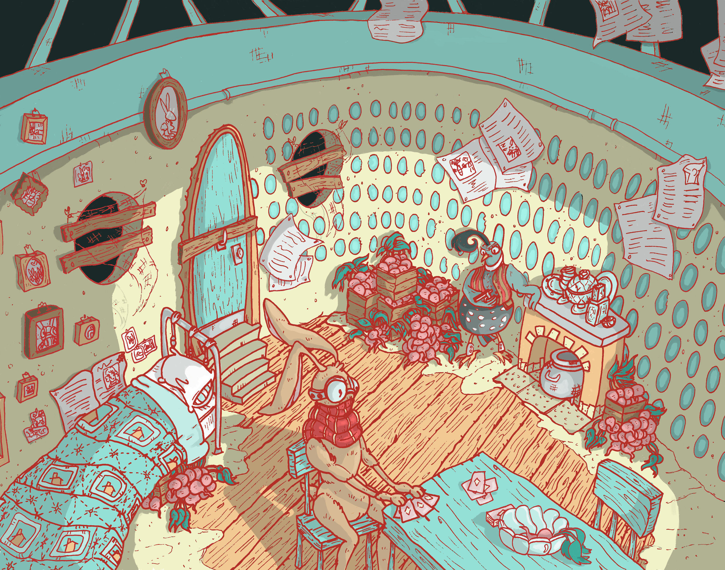 Rabbit and the Quail   Interior Environment for Character Design and Environments Class  (ink and digital coloring)