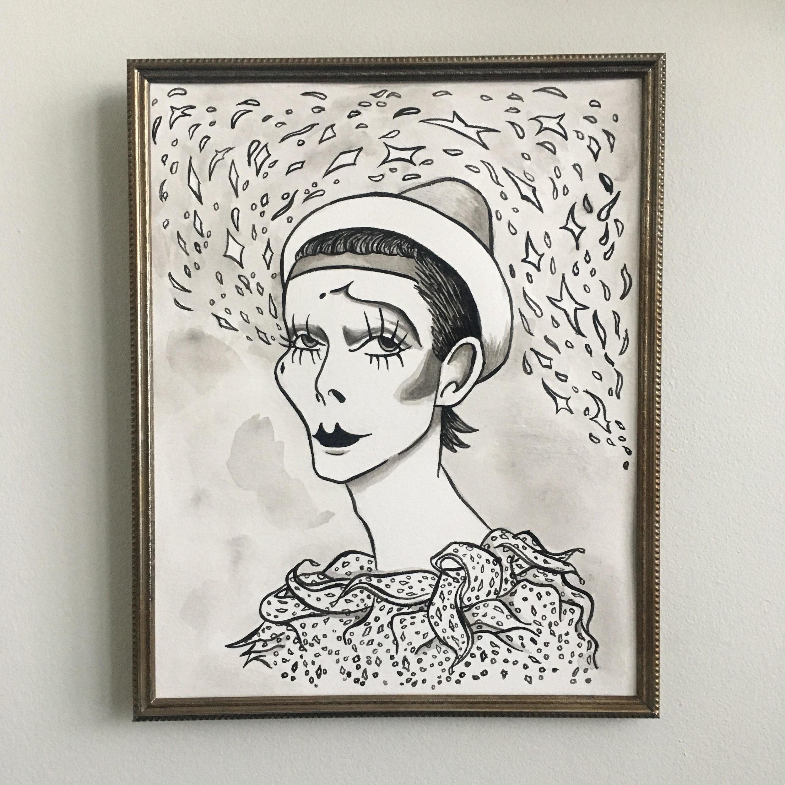 Pierrot Portrait Commission (ink)