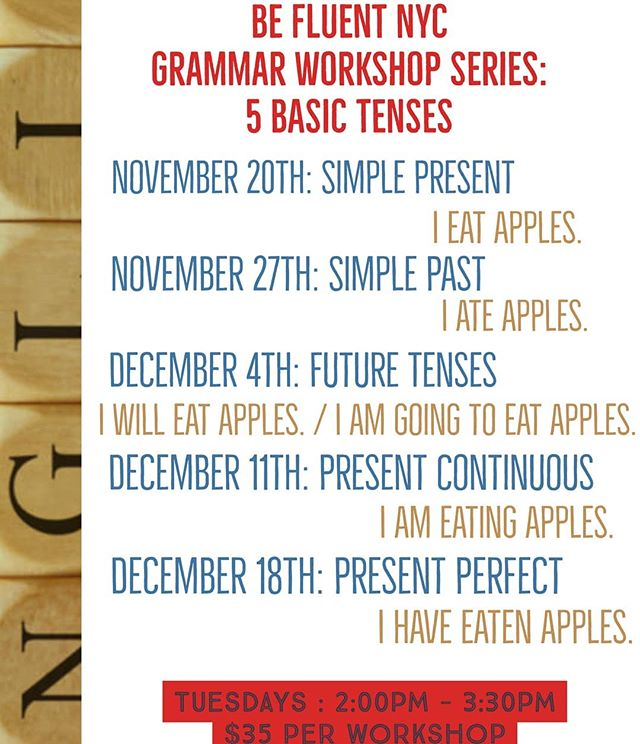 Did you know that #grammar can be fun and interesting? Well it is @befluentnyc cause we 😍 grammar!  Knowing the 5 basic tenses is so important when learning  #English! Join this great workshop and strengthen those fundamental skills so that you can become more fluent!  There is always something fun to learn @befluentnyc  #英語 #英会話 #英語の勉強 #ny生活 #英語の先生 #英会話スクール#英会話教室#英会話レッスン#マンツーマンレッスン#プライベートレッスン#ネイティブ講師#バイリンガル#習い事#留学#語学留学#駐在生活  #ニューヨーク #nyc #grammar #englishisfun #studyabroad #studyenglish