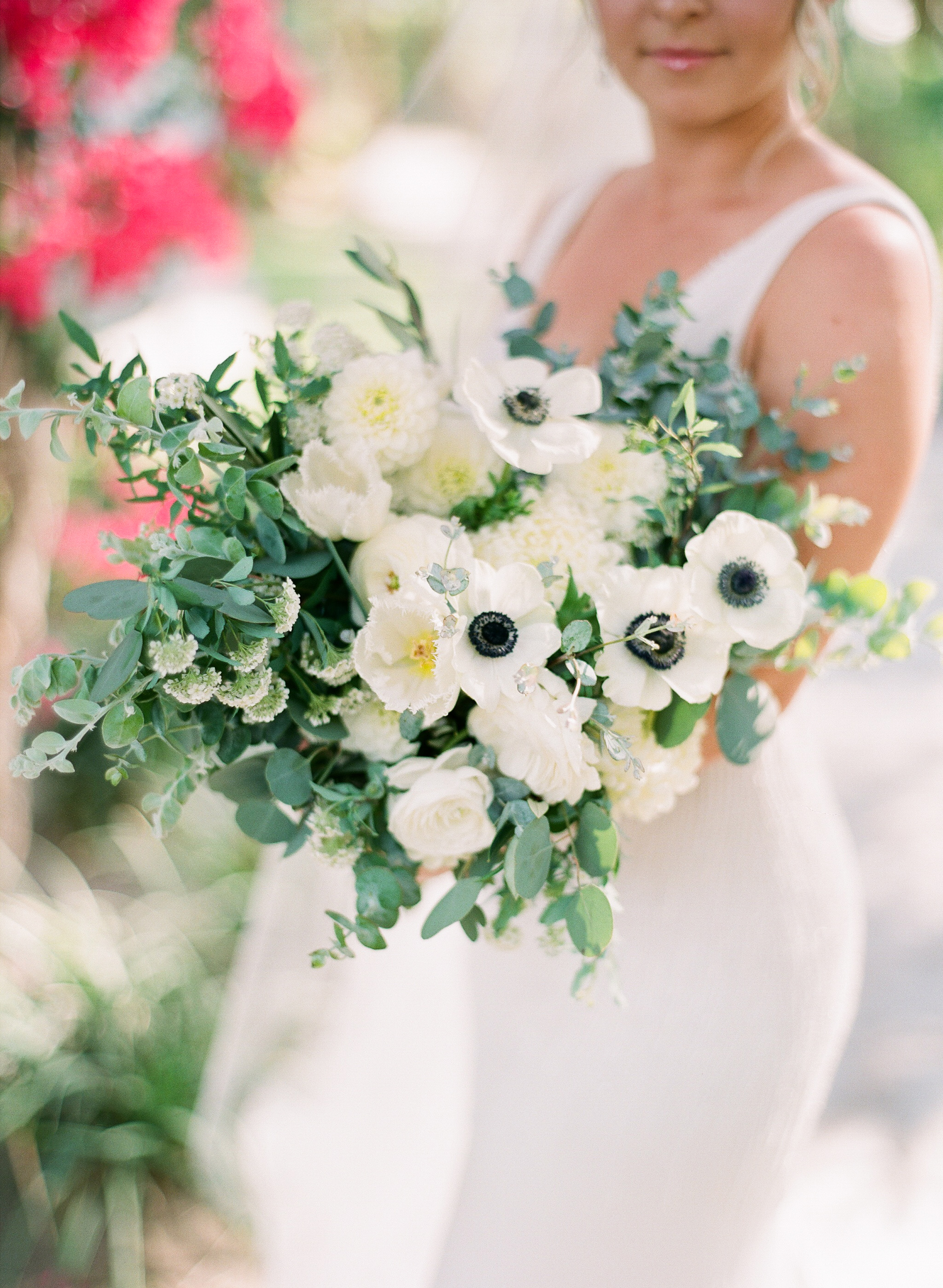 Photography -  Michelle Beller Photography   White Anemones (black center) - Spring/Fall/Winter  Fringed Tulips - Spring/Summer/Winter  Spirea - Spring  China Mums - Year Round  Dahlias - Summer (some varieties available year round)