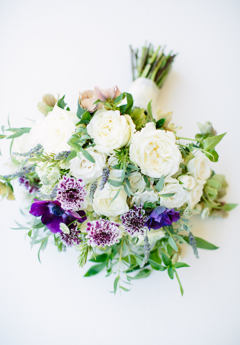 Photography -  Birds of a Feather Photography   Bi-color Purple/White Scabiosa - Year Round  Purple Anemone - Spring/Fall/WInter  Lavender (the herb) - Spring/Summer/Fall  White Astrantia - Year Round  Purple/Green Hellebores - Spring/Winter  Rosemary - Year Round  White Garden Rose - Year Round