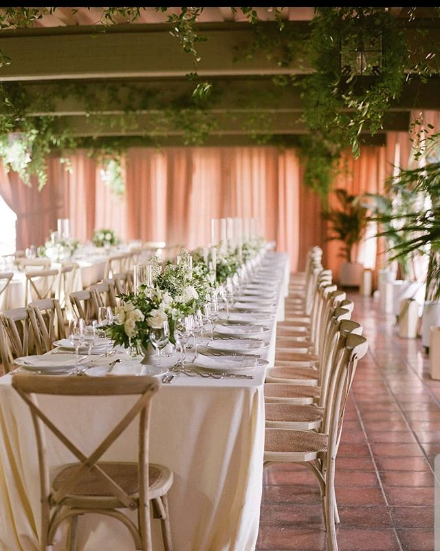 Loooonnng tables and overhead greenery 🌿🌿🌿 Photography @megsorel  Planning & Design @magnoliaed  Lighting & Draping @bellavistadesigns  Linens @latavolalinen  Rentals @brighteventrentals  Venue @lacumbregolf . . . . #rockrosefloral #weddingdesign #weddingideas #enchantedwedding #greenwedding #santabarbarawedding #santabarbaraflorist #weddingphotography #weddingday #modernwedding #luxurywedding #805bride #californiawedding #stylemepretty #liveauthentically #modernbride #weddinginspo #eventdesign #eventflorist #curated_nature #fineartflowers