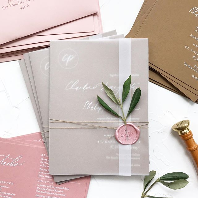 Assembled lots of pretty this weekend 😍 There is something so satisfying about watching all of your designed pieces come to life in print and that final wax seal pulling it all together! Today is mail day for these and it will be hard to say goodbye 😭 . . .  #moderncalligraphy #pointedpencalligraphy #dippen #weddingdesign #sfwedding #bayareawedding #paperaddict #lettering #waxseal #invitations #invitationsuite  #weddingideas #bayareacalligrapher #dailydoseofpaper #paperlove #weddinginspiration #weddinginvitations #moderncalligraphy #envelopeaddressing #calligraphy #calligraphydaily #weddingpaper #fineartwedding #vellumwrap #handlettering #weddingstationery #stationerydesign
