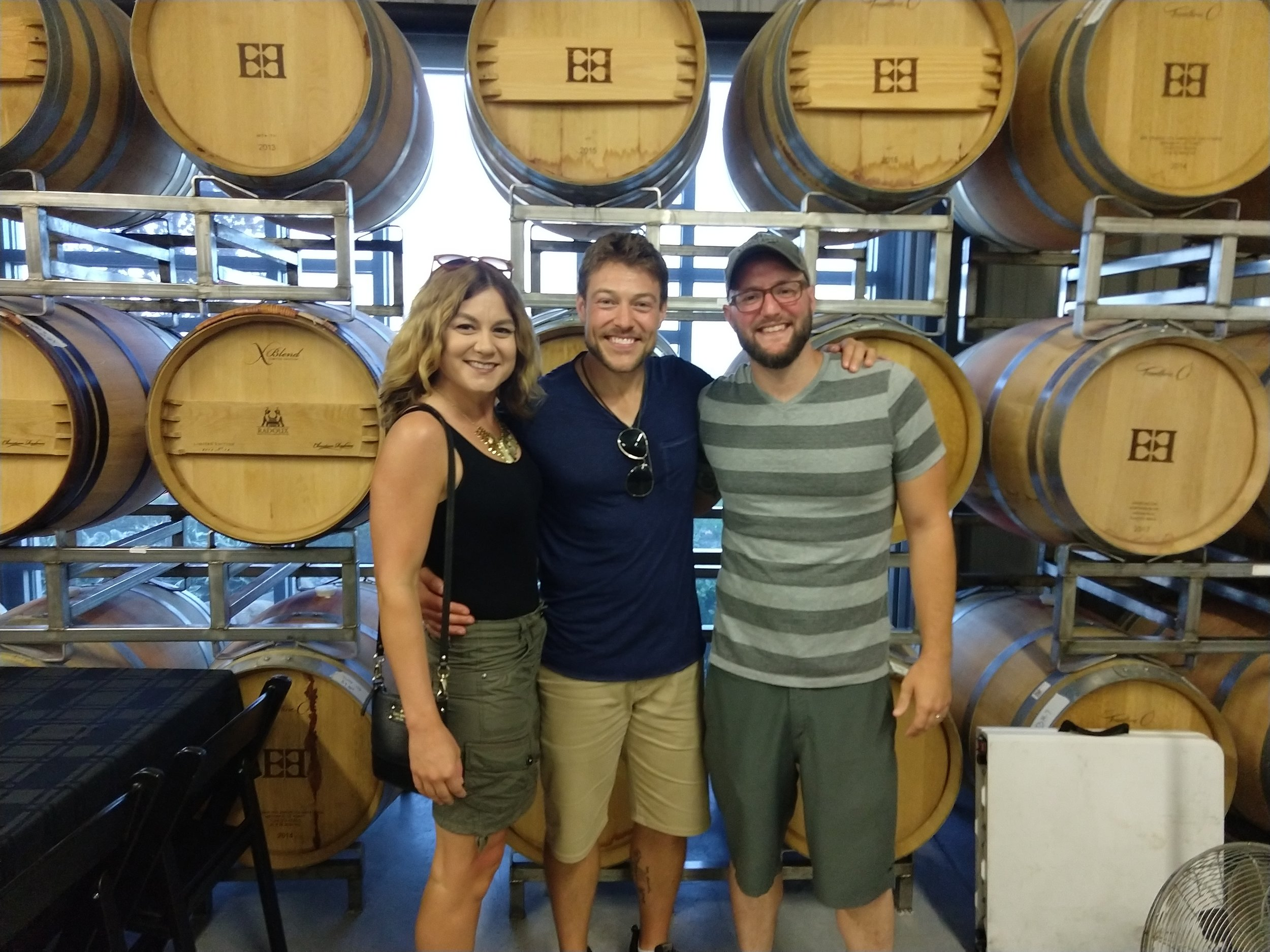 Alicia Pyle, Dennis Junk, and Andy Sheer at Two-EEs Winery