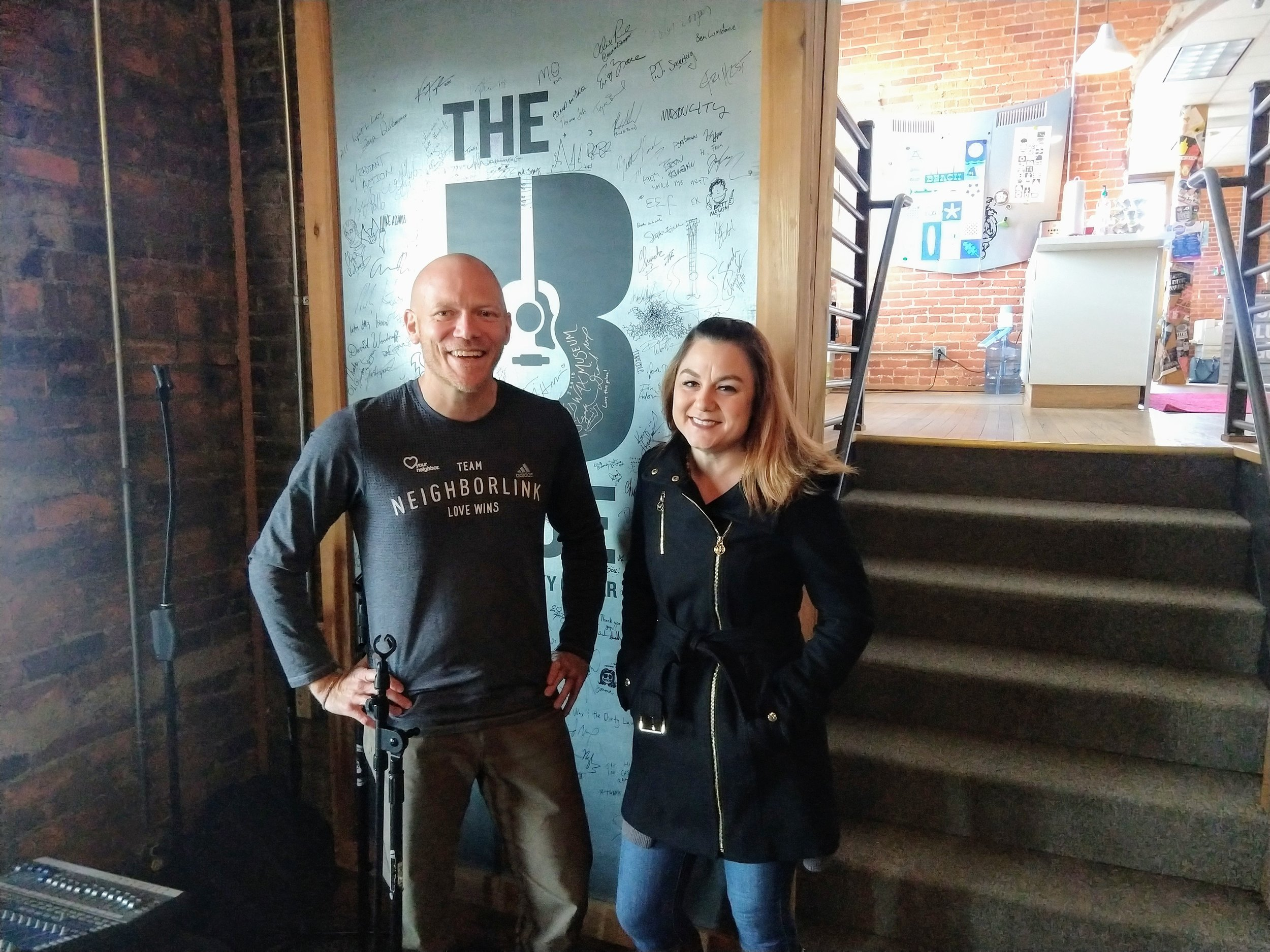 Matt Kelly with Alicia Pyle in The B-Side (next to One Lucky Guitar)