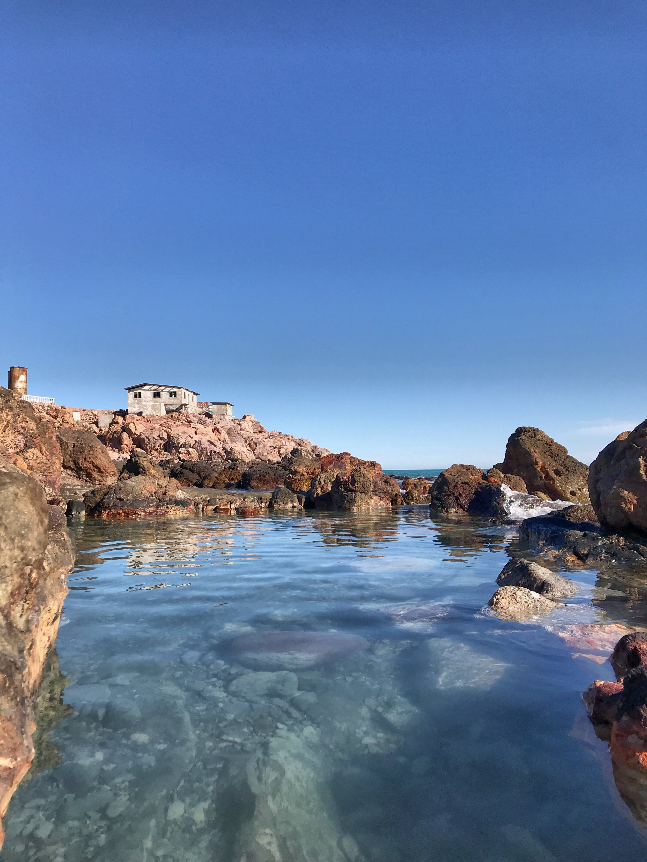 The perfect blend of hot springs mixed with sea water, at Puertecitos.
